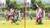 Dospělí muži sportovní, fotbalový zápas mictlan vs sayaxc — Stock fotografie