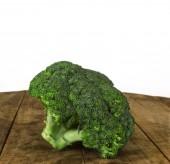 Fresh green broccoli wooden table — Stock Photo