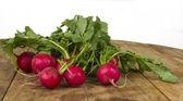 Fresh radish on wooden table — Stock Photo