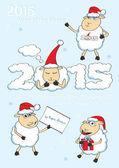 "2015 Year of the Sheep. Set of vector cartoon style ""Christmas Sheep"" :) — Stok Vektör"