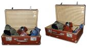 2 views of vintage suitcase with old camera, boots, jeans and sunglass isolated on white with PS Path to extract — Stock Photo