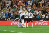 Giocatori fc valencia festeggia il gol — Foto Stock