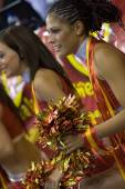 Cheerleader perform during the  FIBA EuroBasket 2007 game between Spain and Germany — Stock Photo