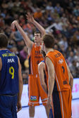 Players during the game between Valencia Basket against Barcelona — Stock Photo