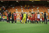 Sevilla Team celebrate the  classification to the final — Stockfoto