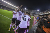 Valencia team celebrate goal during Spanish Cup match — Stock Photo