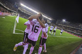 Valencia team celebrate goal during Spanish Cup match — Stock fotografie
