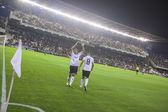 вальдес празднует гол во время матча кубка испании — Стоковое фото
