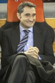 Valencia CF coach Valverde during Spanish League match — Stock Photo