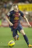 Andres iniesta durante el partido de Liga española — Foto de Stock