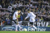 Valencia Supporters during UEFA Champions League match — Foto de Stock