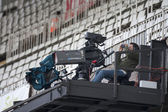 TV Camera during Spanish Soccer League match — Stock Photo