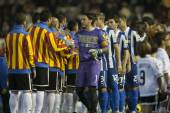 All players during Spanish Soccer League match between Valencia CF and RCD Espanyol — Stock Photo