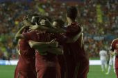 Spain players celebrate after scoring a goal — Foto Stock