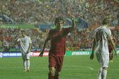 Midfielder David Silva celebrates after scoring a goal — Stock Photo