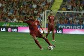 Forward Munir El Haddadi on his debut for Spain with a ball — Stock Photo