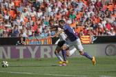 Valencia oyuncu rodrigo ve rcd espanyol oyuncu arbilla eylem — Stok fotoğraf