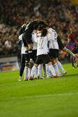 Valencia 選手の試合での勝利を祝う — ストック写真