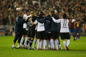 Valencia  players celebrate victory in the match — Stock Photo