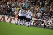 Los jugadores del Valencia celebran gol — Foto de Stock