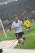 Juan Manuel Mata celebrates scoring a goal — Stock Photo