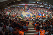 Crowd of people in Fonteta stadium — Stock Photo