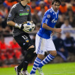 Постер, плакат: Goalkeeper Vicente Guaita L and Raul Gonzalez R during the game