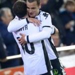 ������, ������: Juan Manuel Mata L and Roberto Soldado R celebrate scoring a goal