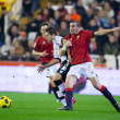 Постер, плакат: Jordi Alba L and Walter Gerardo Pandiani R fighting for a ball