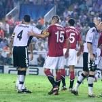 ������, ������: Darren Fletcher L David Navarro C Nemanja Vidic C Rio Ferdinand Jeremy Mathieu and Dimitar Berbatov during the game
