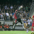 Pierre Webo and goalkeeper Miguel Angel Moya in action during the game — Stock Photo #57375893
