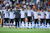 Players saved 1 minute of silence in memory of the father of Valencia goalkeeper Guaita — Stockfoto