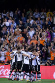 Valencia Team celebrate goal — Stockfoto