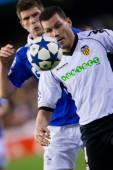 David Navarro with a ball and  Klaas-Jan Huntelaar (B) — Stock Photo