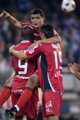 RCD Mallorca players celebrate a goal — ストック写真