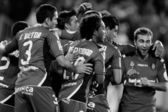 RCD Mallorca players celebrate a goal — Stockfoto
