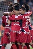 RCD Mallorca players celebrate a goal — ストック写真