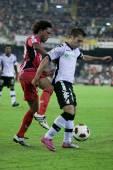 Jonathan De Guzman (L) and Jordi Alba (R) during the game — Stock Photo