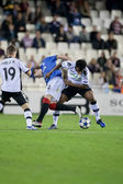 Kirk Broadfoot (C) and Fernandes (R) and Pablo (L) during the game — Stock Photo