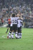 Valencia players celebrate scoring a goal — Stock Photo