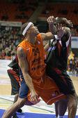Cesta de Valencia juego Eurocup contra Sluc Nancy Basket — Foto de Stock