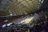 Fans and teams during Eurocup Basketball match — Stock Photo
