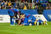 Levante players celebrating the goal — Zdjęcie stockowe
