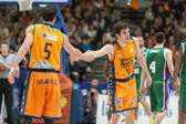 Guillem Vives (R) and Pau Ribas (L) during the game — Zdjęcie stockowe