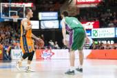 Nemanja Nedovic with ball and Stefan Markovic (R) in action — Zdjęcie stockowe