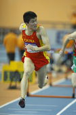 Dongpeng Shi of China compete in the Mens 60 Metres Hurdles Heat — Stock Photo