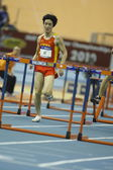 Liu Xiang of China compete in Final of the Mens 60 Metres Hurdles Heat — Stock Photo