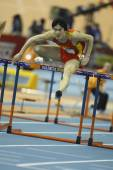 Liu Xiang of China compete in Final of the Mens 60 Metres Hurdles Heat — Stock Photo