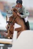 Rider on the horse during  Global Champions Tour of Spain — Foto de Stock