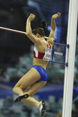 Yelena Isinbaeva of Russia  during her jump in the Womens Pole Vault Qualification — Stock Photo